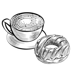 sketch coffee drink and donut dessert vector image