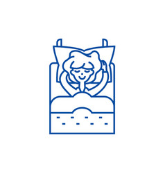 sleeping woman in bed line icon concept sleeping vector image