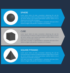 sphere and cube poster set vector image