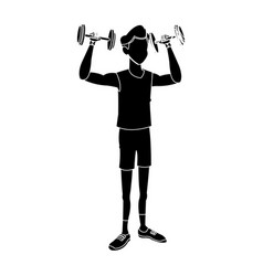 sport man dumbbell fitness active lifestyle vector image