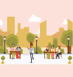 Street restaurant with people on cityscape vector