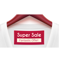 super sale ad banner clothing with tag hanging on vector image