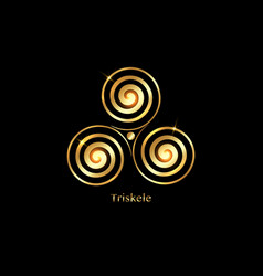 Triskelion gold luxury symbol triple spiral celtic vector