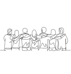 Unity in diversity concept single continuous line vector
