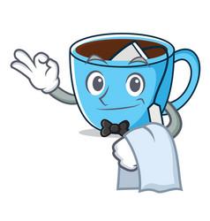 Waiter tea cup mascot cartoon vector