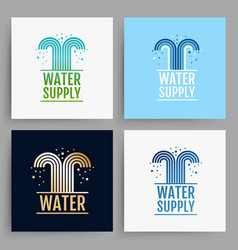 Water supply logo design cards collection vector