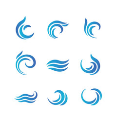 Wave logos blue water waves with splashes vector