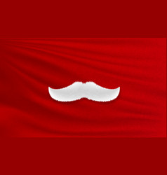 White santa claus mustache on red cloth merry vector