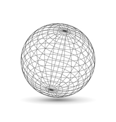 Wireframe globe icon 3d version vector