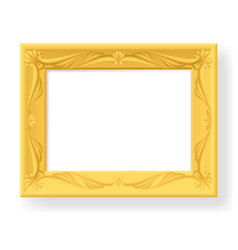 Wooden frame on white background for design vector