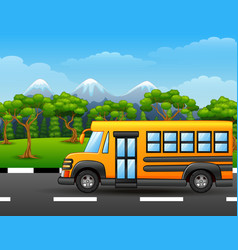 yellow school bus on road with mountains and trees vector image