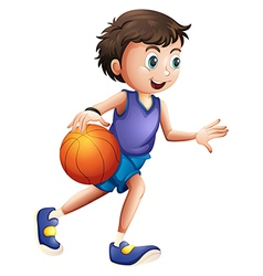 An energetic young man playing basketball vector image