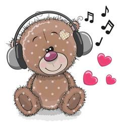 cute cartoon teddy bear with headphones vector image vector image