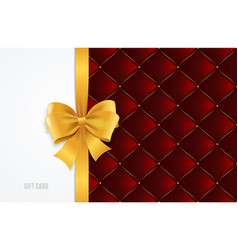 gift card template silk ribbon bow and quilted vector image vector image
