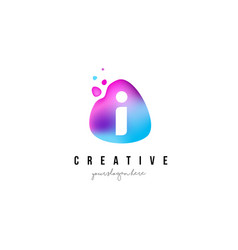 i letter dots logo design with oval shape vector image