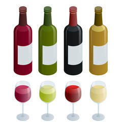 set of white rose and red wine bottles and glas vector image vector image