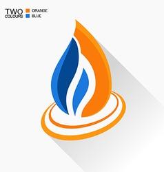 symbol fire Dark blue and orange flame glass icon vector image
