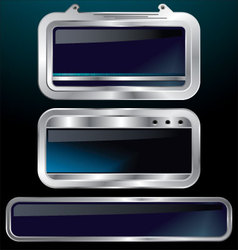 a set of chrome metallic labels vector image vector image