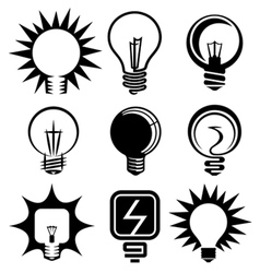 bulb icons set vector image vector image