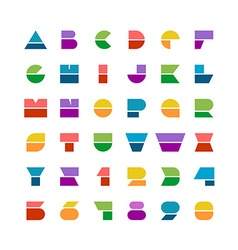 Flat colorful geometric shapes letters style font vector