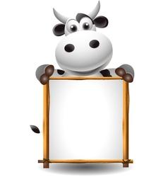 funny cartoon cow with board vector image
