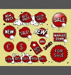 set of red price tags vector image