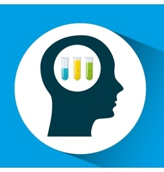 silhouette head tests tube lab work vector image vector image