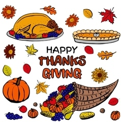 Thanksgiving day dinner set vector image