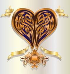 Baroque heart vector image vector image