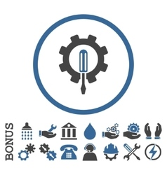 Engineering Flat Rounded Icon With Bonus vector image vector image
