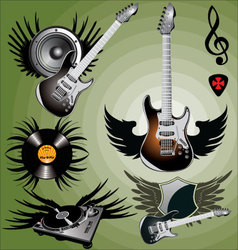 Music label with wings vector image vector image