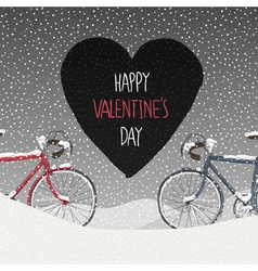 valentines card two bicycles vector image