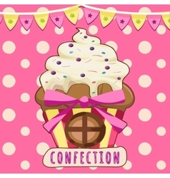 Cake-house on a pink background vector image vector image