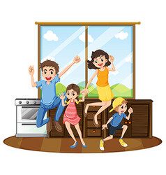 Family happy at home vector image vector image