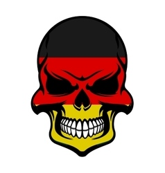 Germany flag colors on danger skull vector image vector image