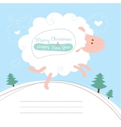 Greeting card with a sheep vector image