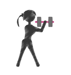 silhouette girl dumbbell fitness vector image