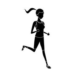 silhouette sport girl run athletic fitness vector image