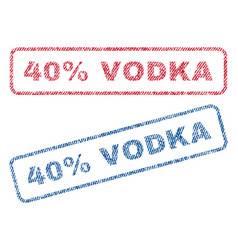 40 percent vodka textile stamps vector