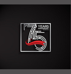 75 years anniversary logotype with square silver vector