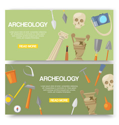 Archaeology set banners vector
