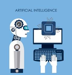 artificial intelligence computer board circuit vector image