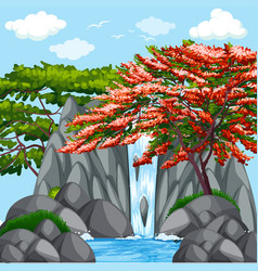 background scene with trees at waterfall vector image