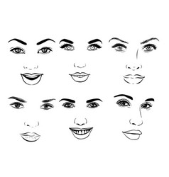 Beautiful fashion woman portrait set for make up vector