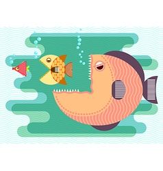 Big fish eat small fish vector