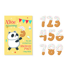 Birthday invitation with panda and numbers vector