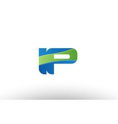 Blue green ip i p alphabet letter logo vector