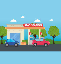 cars in gas filling station service structure vector image