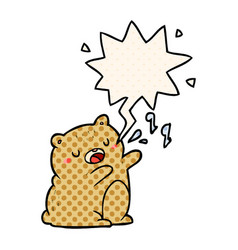 Cartoon bear singing a song and speech bubble in vector