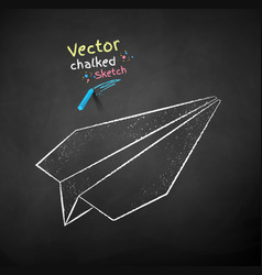 chalk drawn paper plane vector image